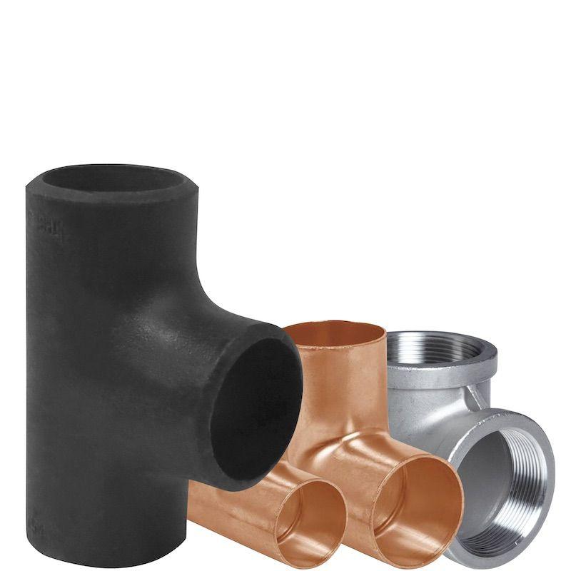 conexiones tee de acero galvanizado y cobre soldables